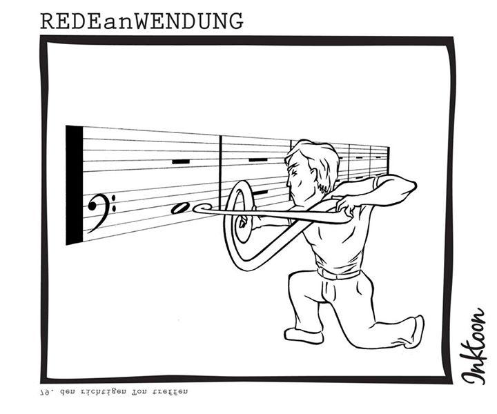 den richtigen Ton treffen Redewendung Redeanwendung Bilderrätsel toon inktoon Illustration Grafik Sprichwort Bild