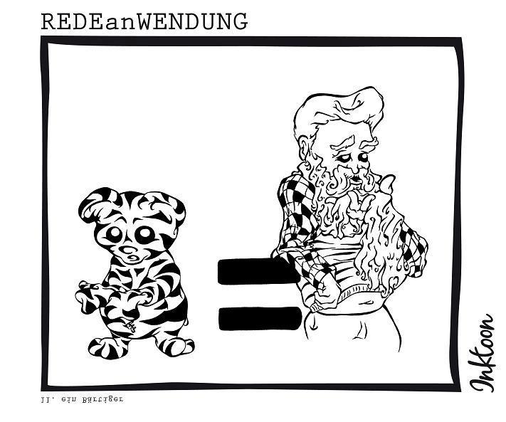 Bärtiger Bär Tiger alter Mann Bart Rauschebart Redewendung Redeanwendung Bilderrätsel toon inktoon Illustration Grafik Sprichwort Bild