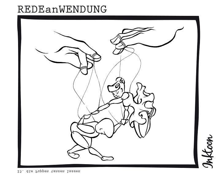 Die puppen tanzen lassen Party Ausgehen Vergnügen Redewendung Redeanwendung Bilderrätsel toon inktoon Illustration Grafik Sprichwort Bild