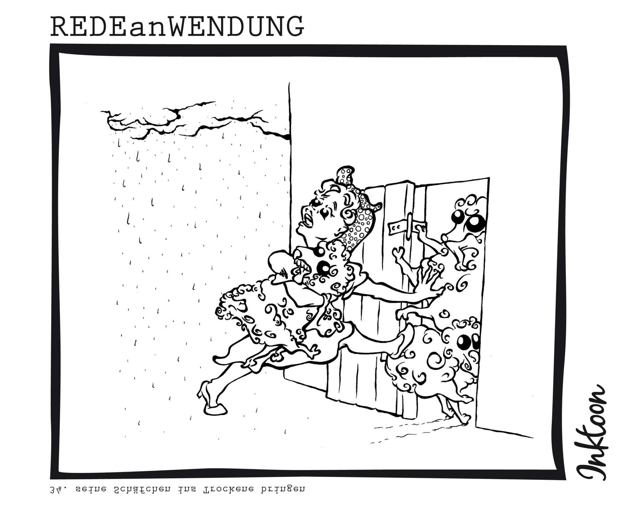 seine Schäfchen ins Trockene bringen retten Vorteil sichern Wetter Bauernregel Redewendung Redeanwendung Bilderrätsel toon inktoon Illustration Grafik Sprichwort Bild