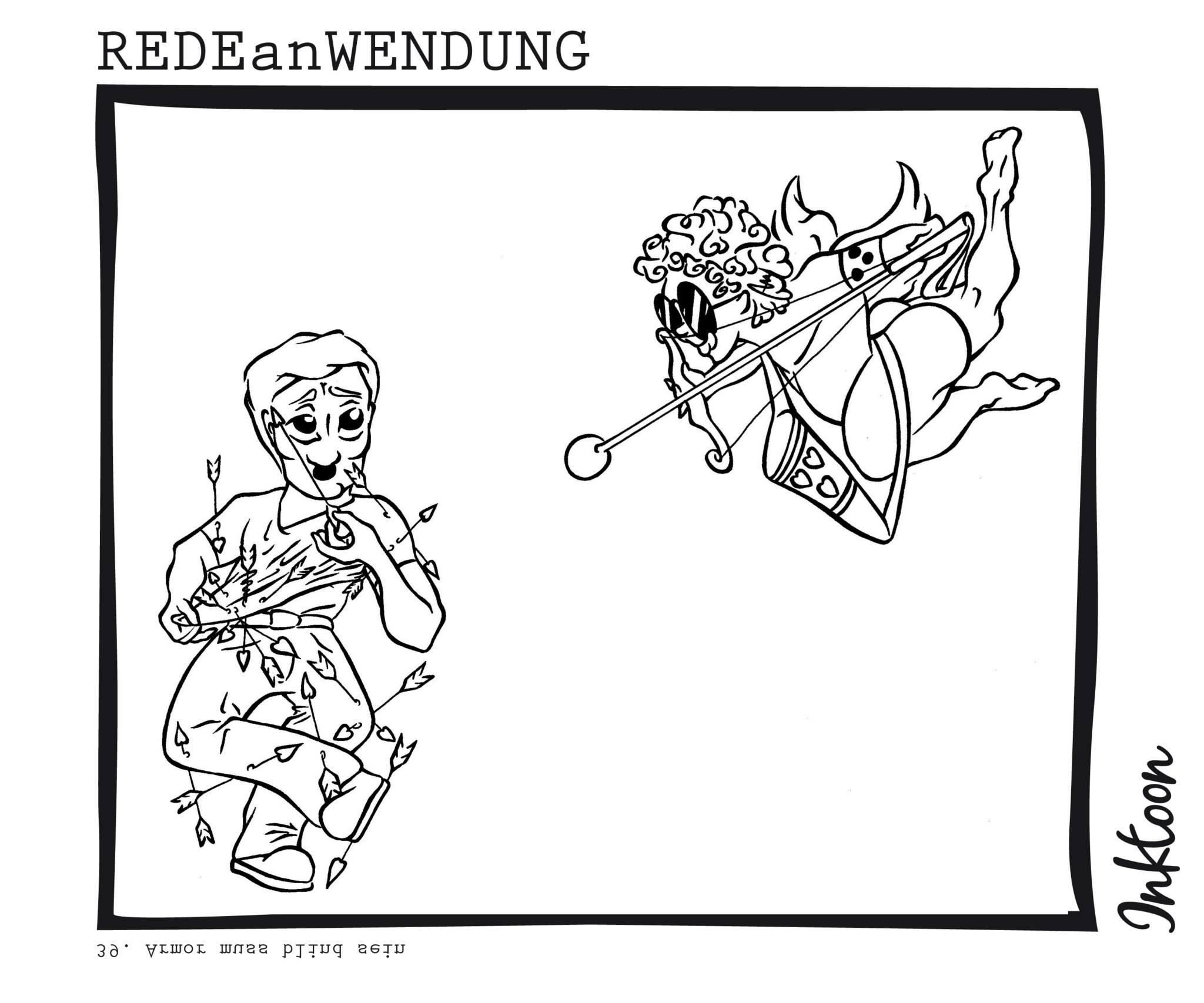 Armor muss blind sein Liebe Valentinstag heilig  Redewendung Redeanwendung Bilderrätsel toon inktoon Illustration Grafik Sprichwort Bild