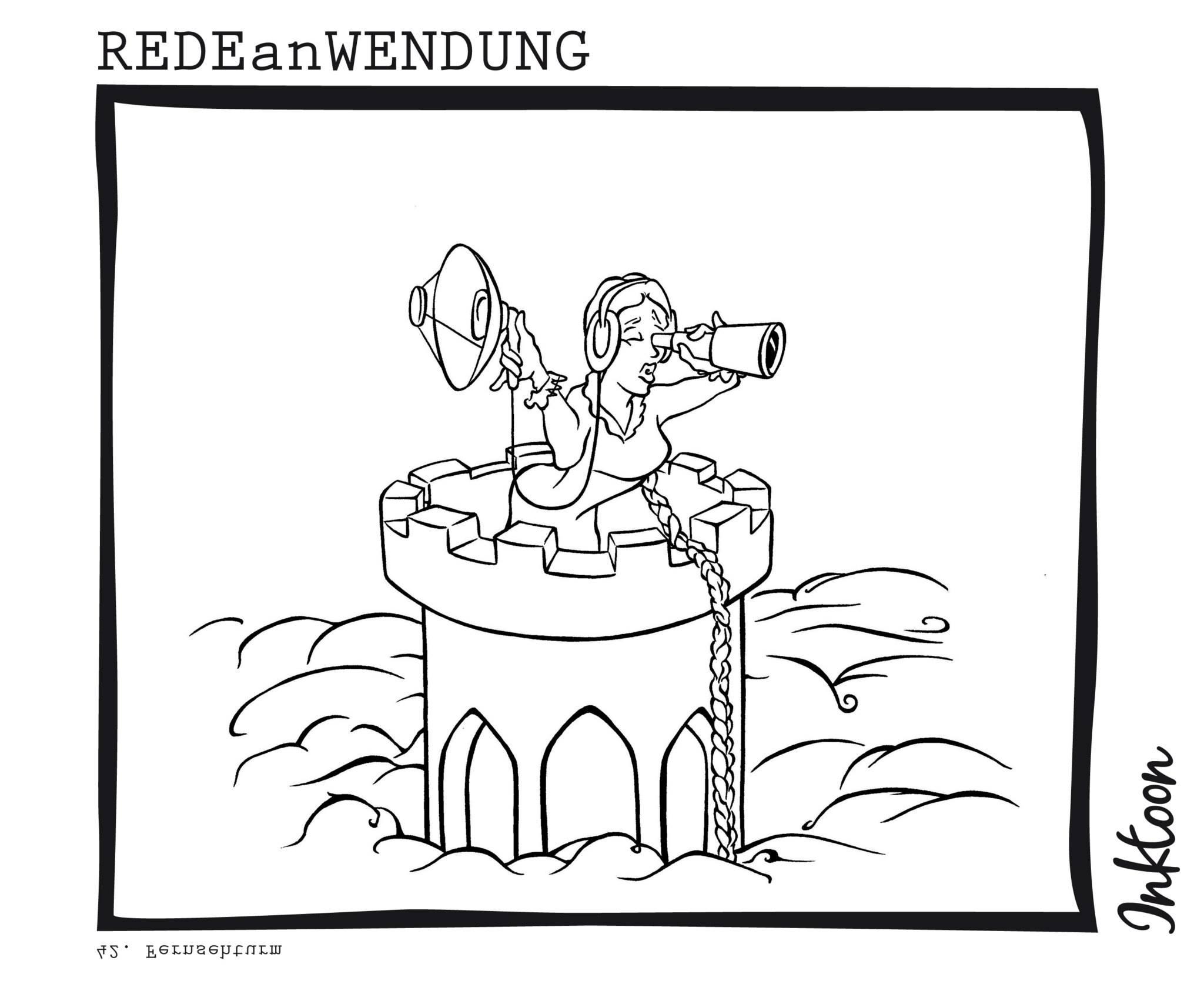 Fernsehturm Wahrzeichen Signalanlage Aussicht plattform Redewendung Redeanwendung Bilderrätsel toon inktoon Illustration Grafik Sprichwort Bild