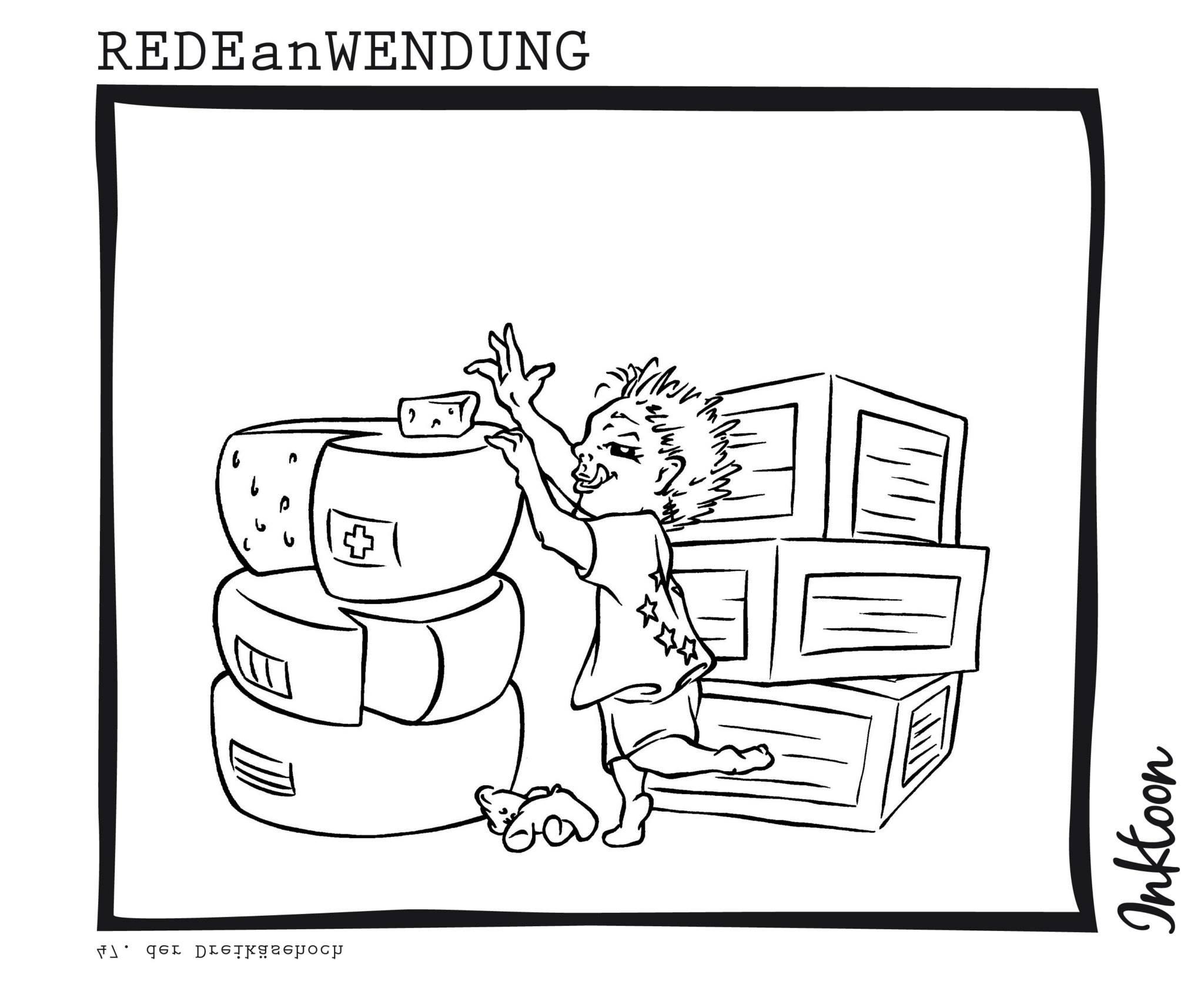 Gernegroß abgebrochener Zwerg Dreikäsehoch spöttisch Spott Redewendung Redeanwendung Bilderrätsel toon inktoon Illustration Grafik Sprichwort Bild
