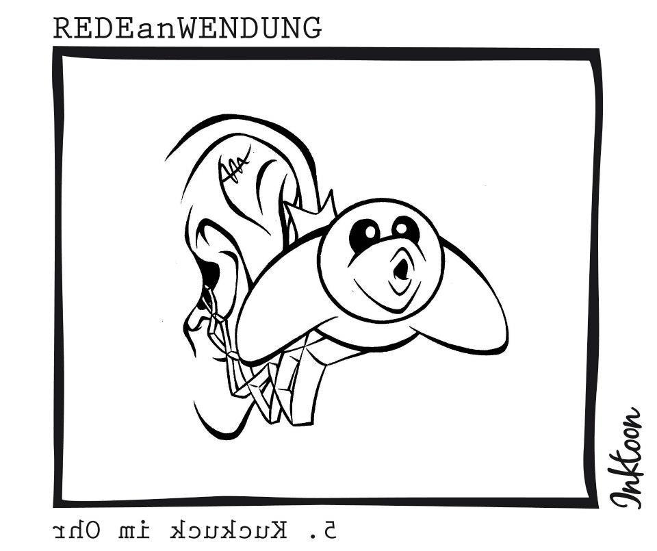 Kuckuck im Ohr Redewendung Redeanwendung Bilderrätsel inktoon toon Bild Illustration Grafik Sprichwort