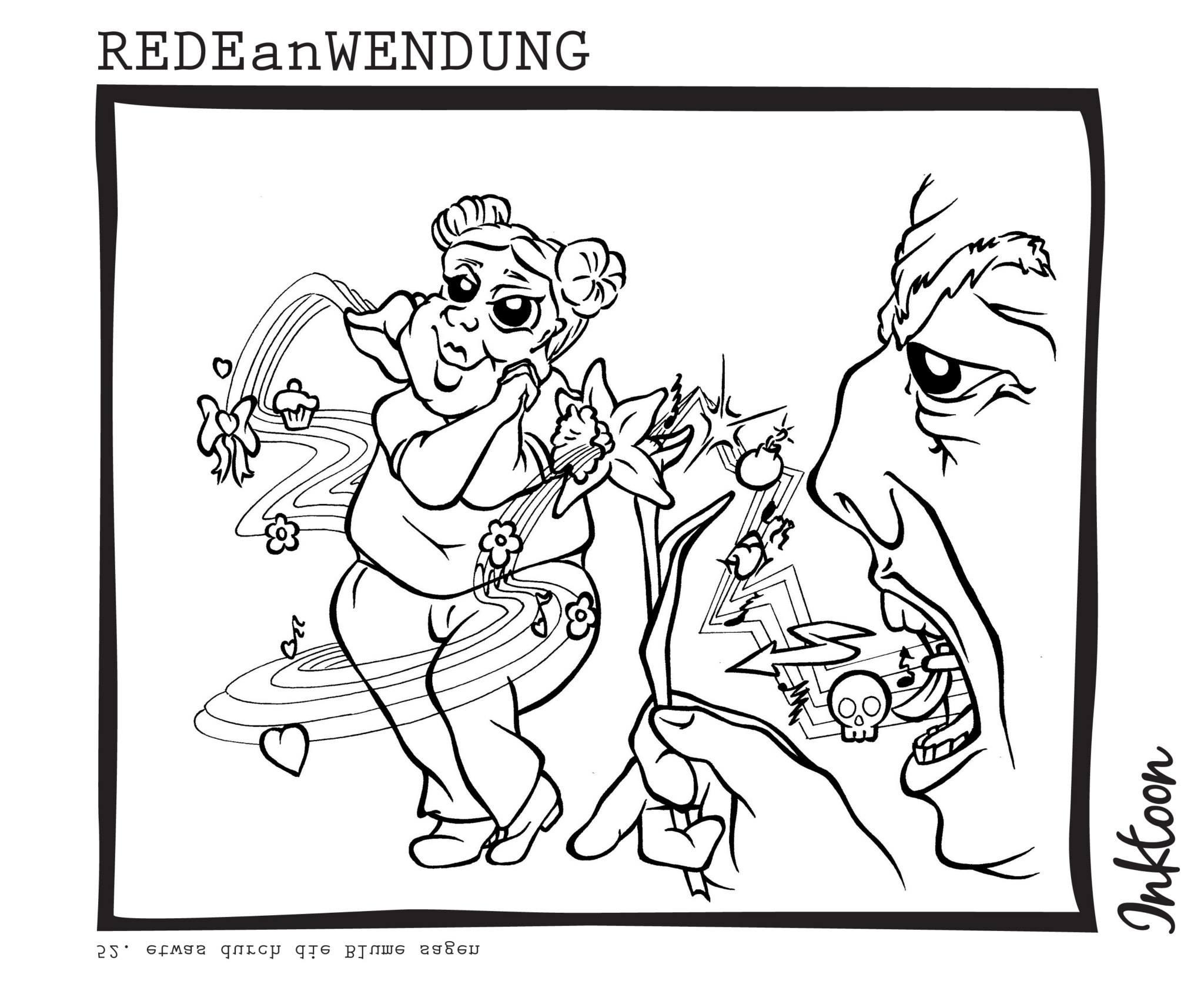 Wahrheit schonend verhüllt Information Kritik andeuten durch die Blume sagen Redewendung Redeanwendung Bilderrätsel toon inktoon Illustration Grafik Sprichwort Bild