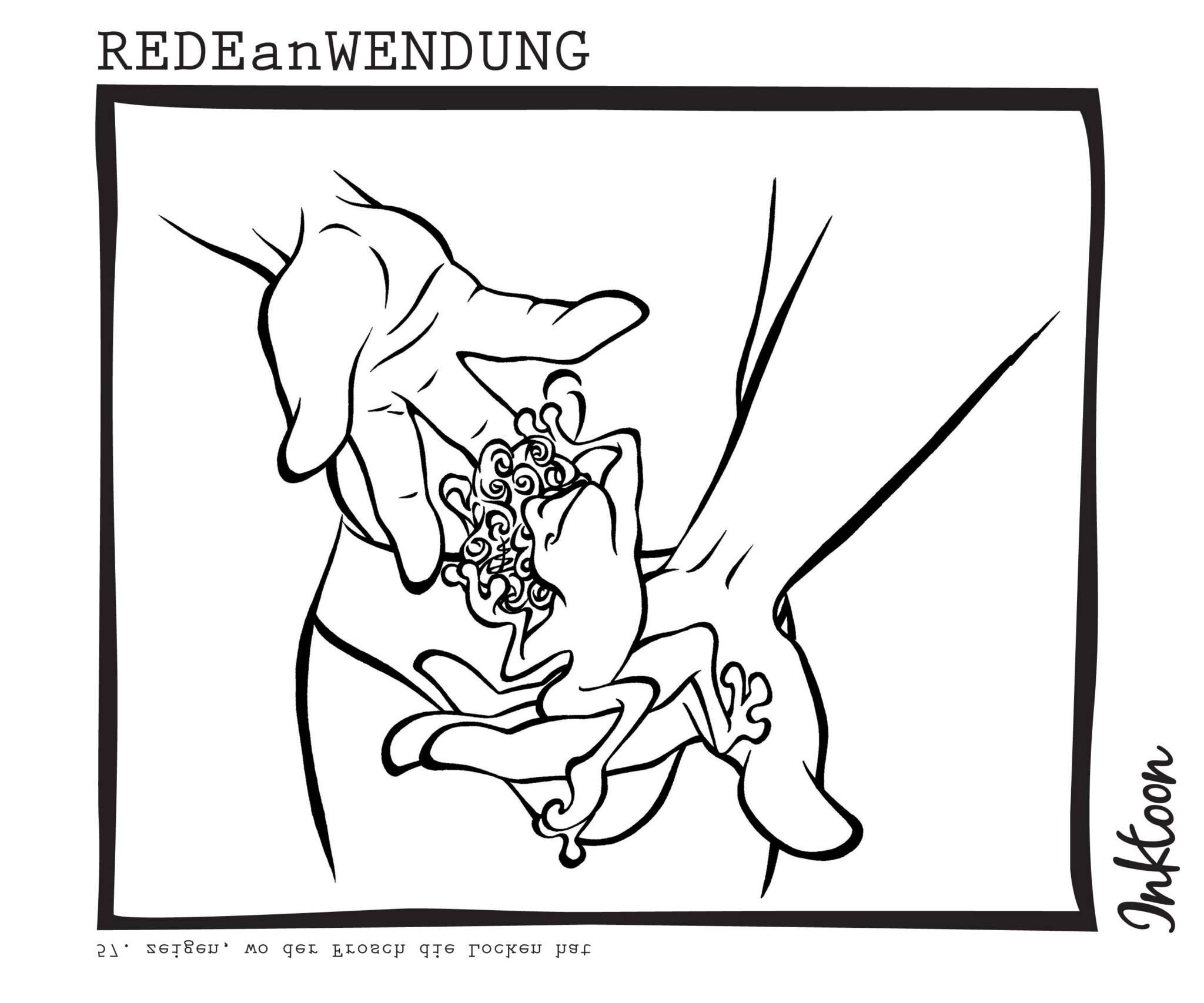 zeigen wo der Frosch die Locken hat plumpe Anmache Redewendung Redeanwendung Bilderrätsel toon inktoon Illustration Grafik Sprichwort Bild