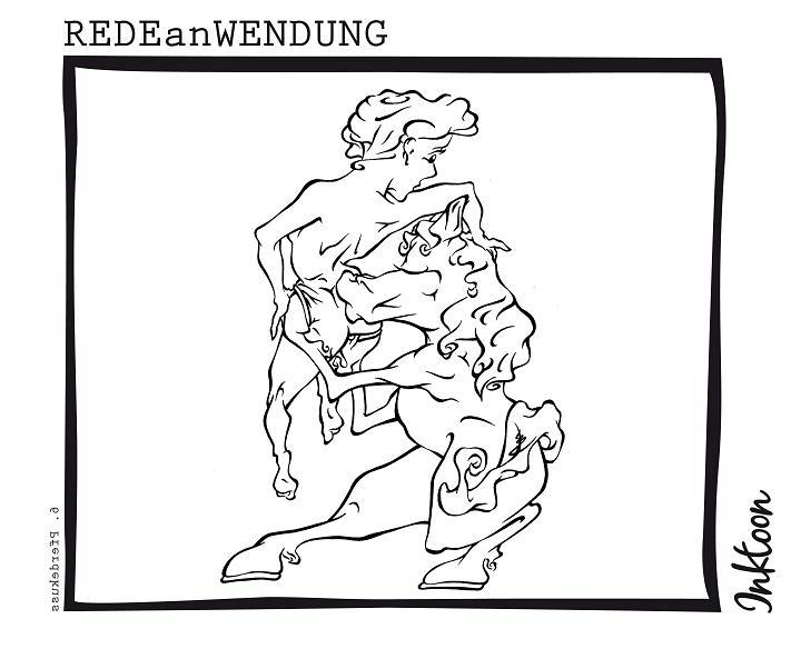 Pferdekuß Pferdekuss Kuss Blutergut Hämatom Fleck Redewendung Redeanwendung Bilderrätsel toon inktoon Illustration Grafik Sprichwort Bild