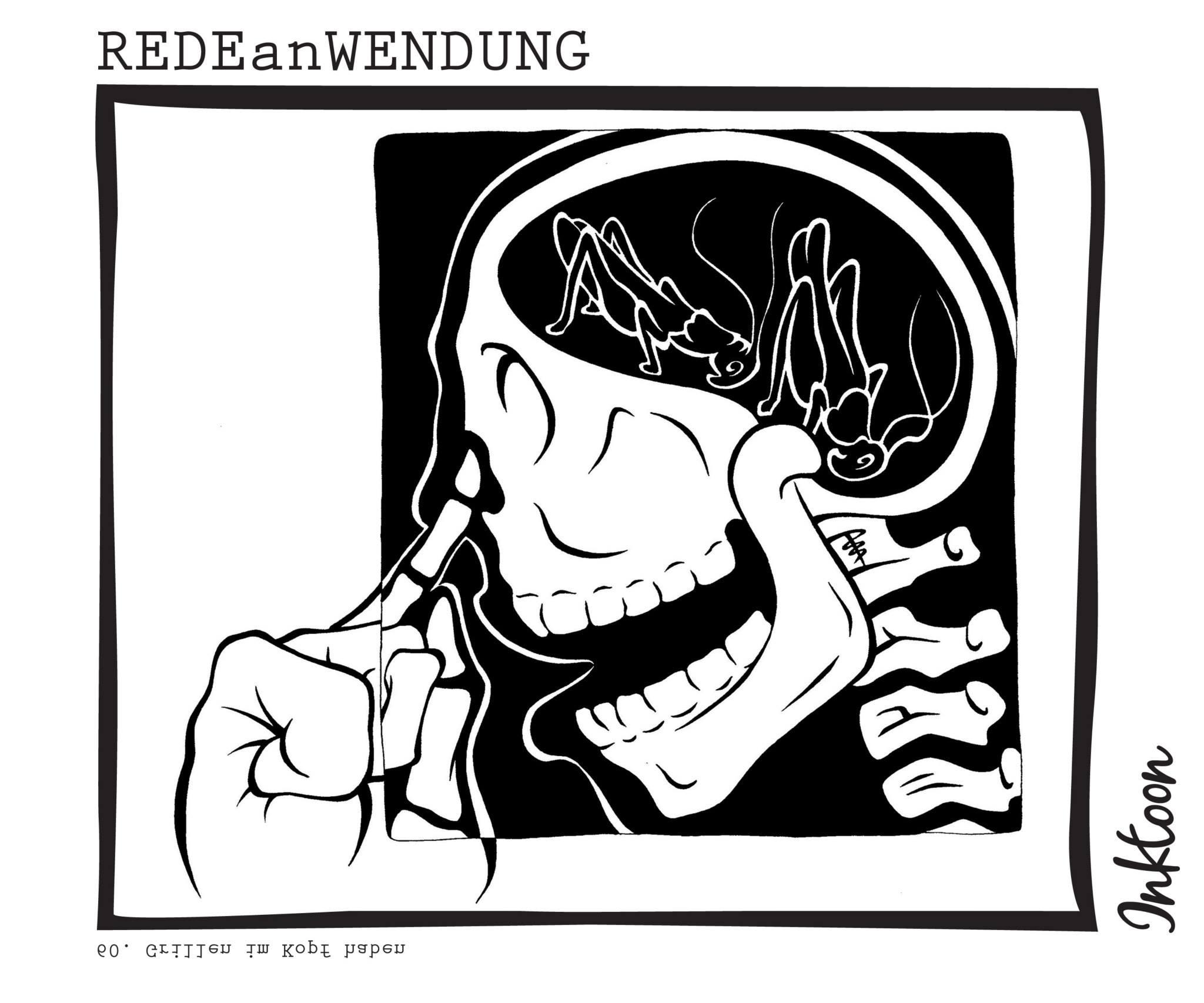 Grillen im Kopf haben verrückt sonderbare Einfälle fixe Idee Redewendung Redeanwendung Bilderrätsel toon inktoon Illustration Grafik Sprichwort Bild