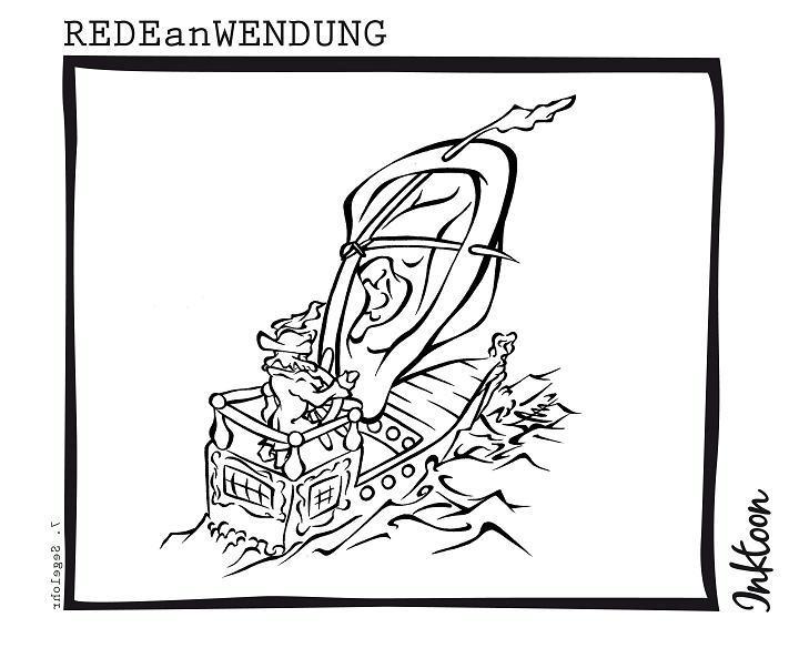 Segelohr Windfang Schiff Ozean Redewendung Redeanwendung Bilderrätsel toon inktoon Illustration Grafik Sprichwort Bild