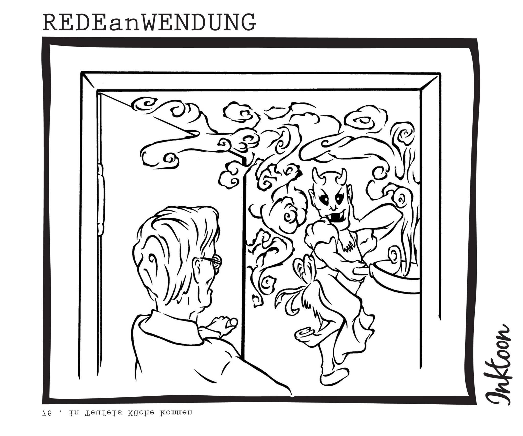 Wohin kommt man wenn man in eine mißbräuchliche Lage kommt durch Schwierigkeiten Peinlichkeiten oder Probleme in Teufels Küche TeufelskücheRedewendung Redeanwendung Bilderrätsel toon inktoon Illustration Grafik Sprichwort Bild