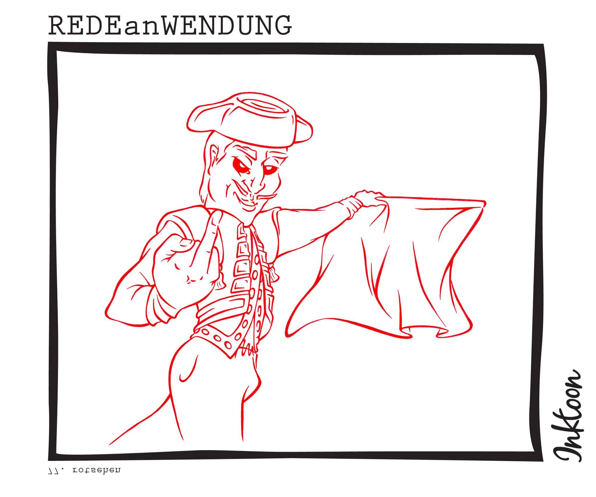 Was sieht man wenn man sehr wütend wird oder zornig ist rotsehen rot sehen Redewendung Redeanwendung Bilderrätsel toon inktoon Illustration Grafik Sprichwort Bild