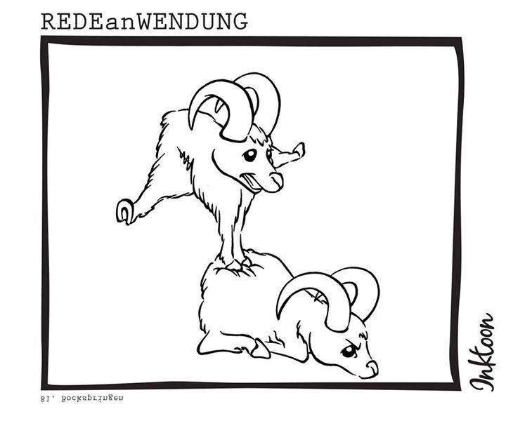 Bockspringen Redewendung Redeanwendung Bilderrätsel toon inktoon Illustration Grafik Sprichwort Bild