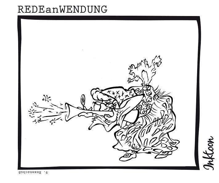 Hexenschuss Hexenschuß Lumbago Rückenschmerz Schmerz Ischiassyndrom Lumbalsyndrom Lendenwirbel Redewendung Redeanwendung Bilderrätsel toon inktoon Illustration Grafik Sprichwort Bild